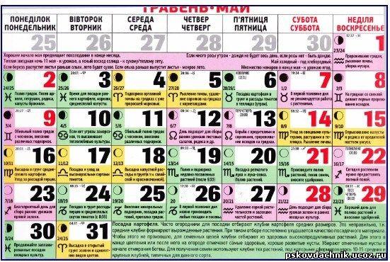 Лунный календарь огородники на май 2017-2018